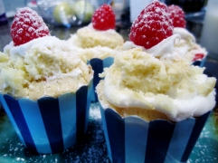 Lemon Cupcakes with Raspberry Filling